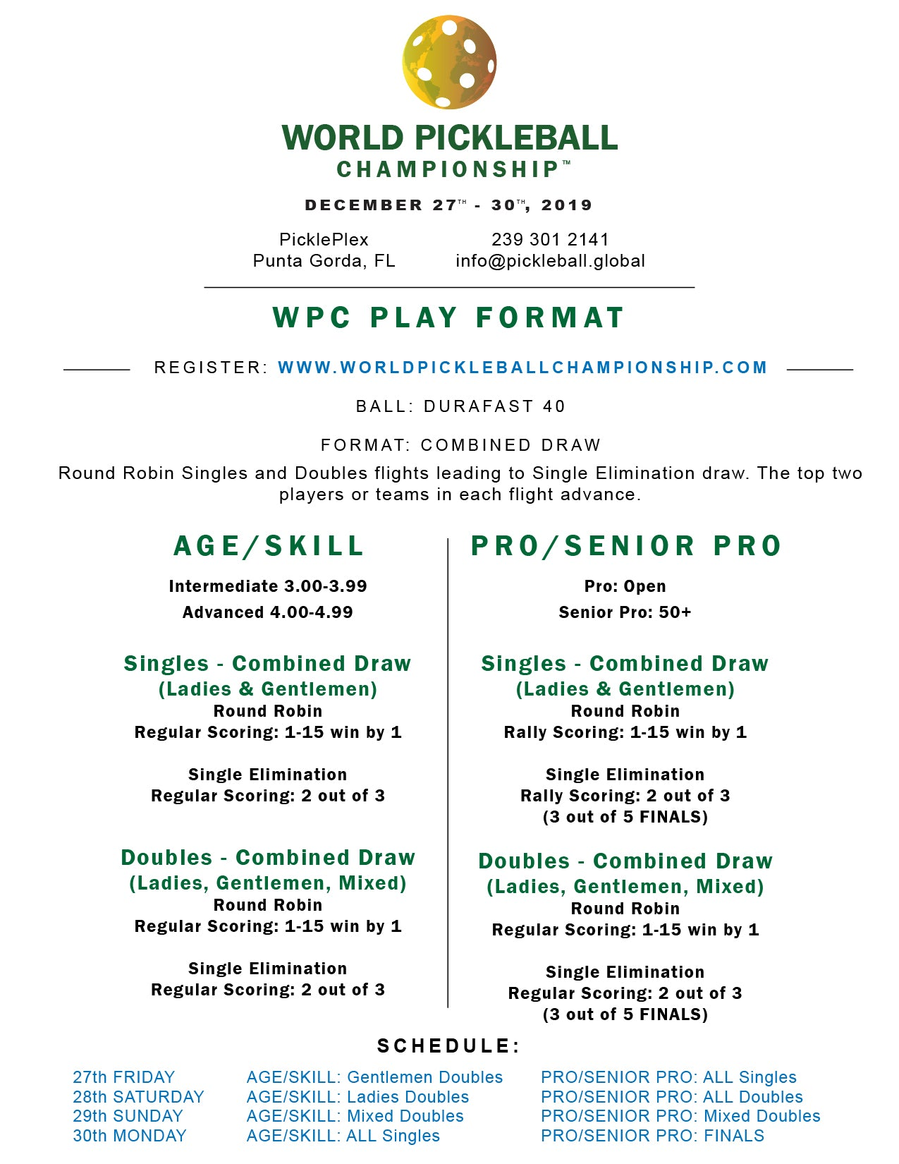 World Pickleball Championship Play Format