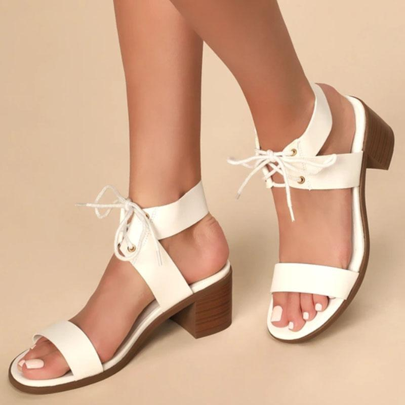 Fashion Lace-Up High Chuny Heel Sandals