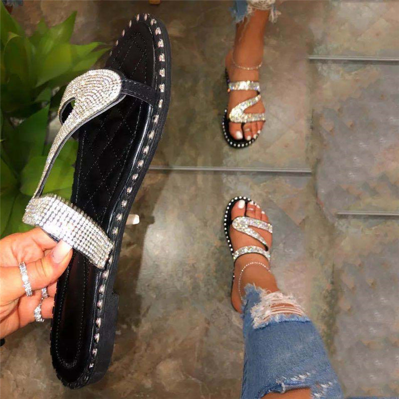 Pretty Shining Crystal Flip-Flops Beach Slippers For Women