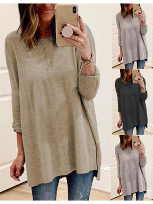 Women's Basic Round Neck Long Sleeve Midi Length Shirt