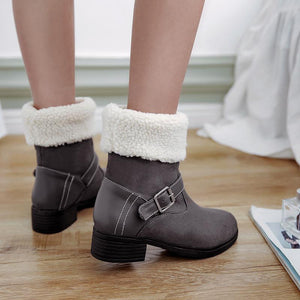 Buckle Decoration Chunky Heel Short Boots