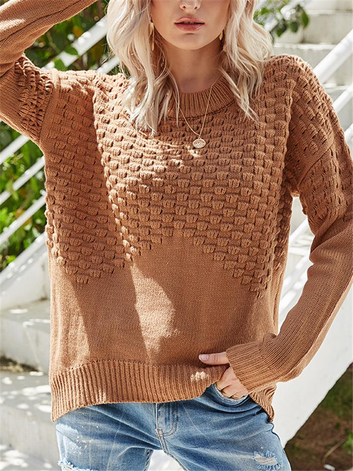 Comfy Round Neck Long Sleeve Knit Shirt