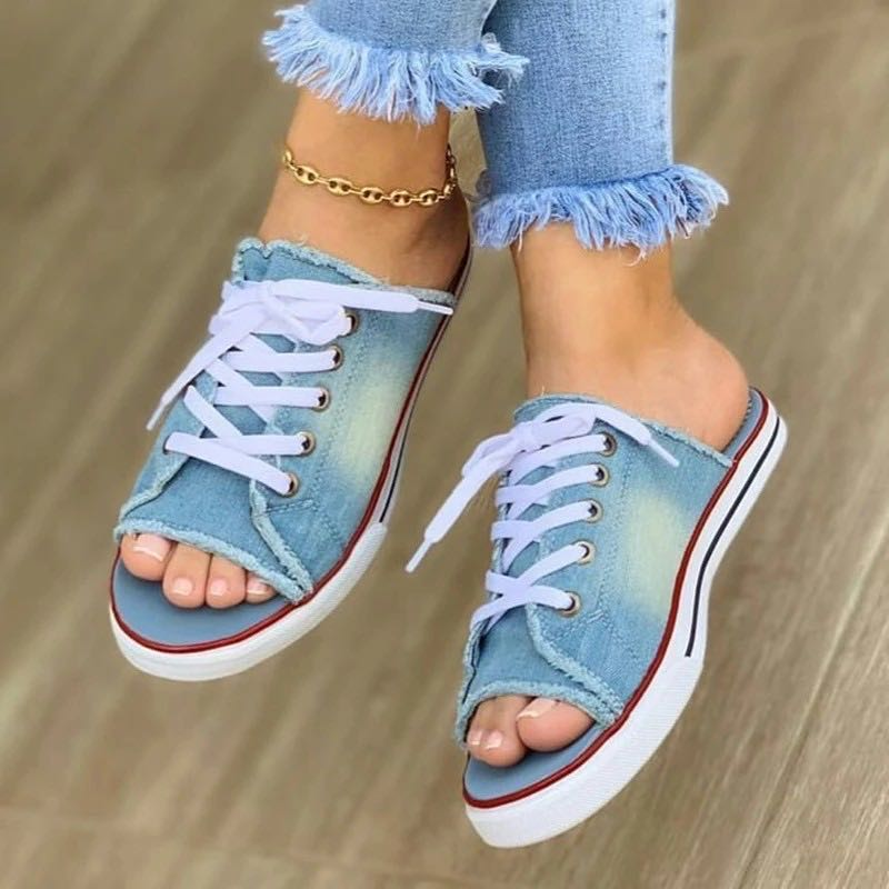 2020 New Arrival Flat Heel Canvas Slippers Special Sandals