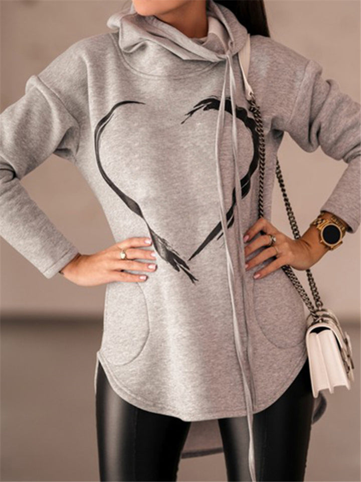 Heart Printed Drawstring Hooded Pocket Sweatshirt with Face Covering