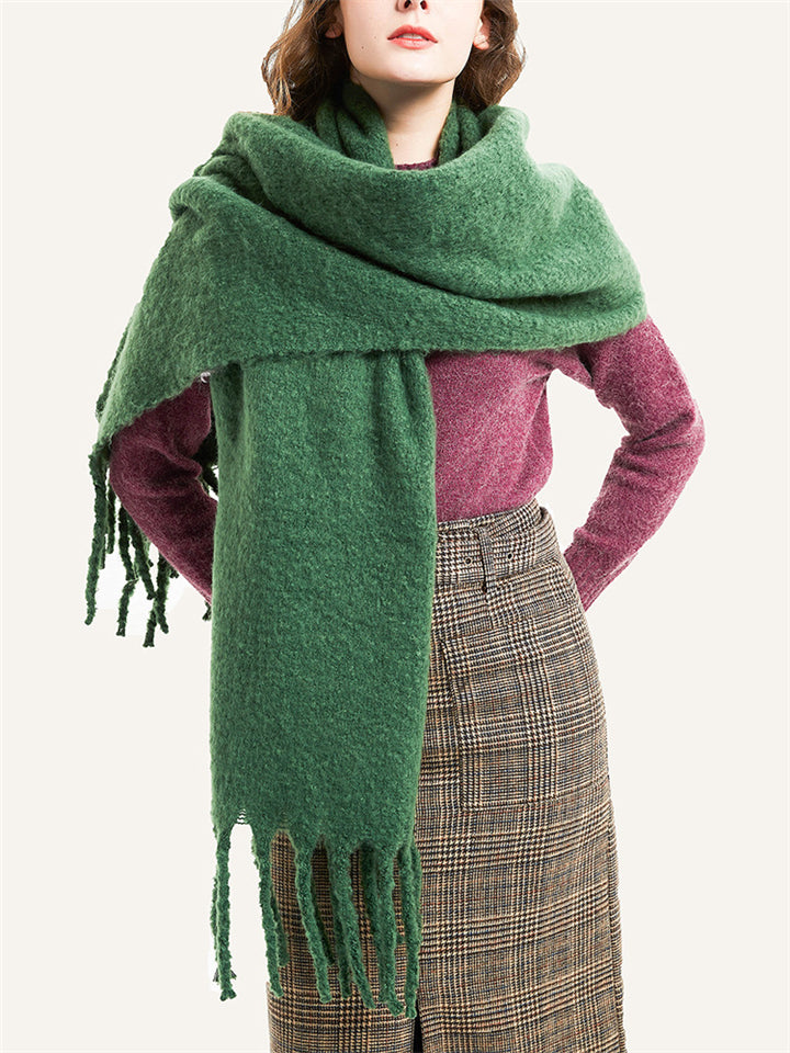Fashion Solid Color Fringed Scarf For Winter