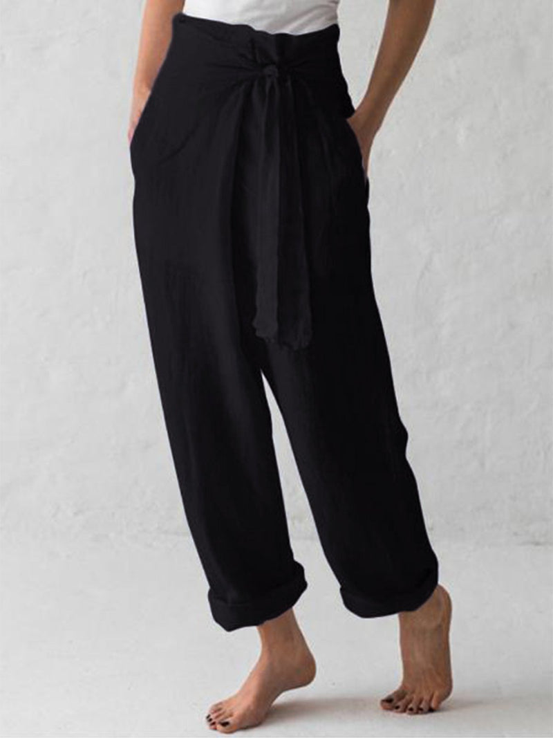 Women Belted High Waist Casual Wide Leg Harem Pants
