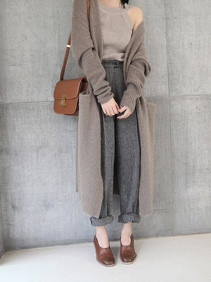 Women Knitted Long Sleeve Open Front Long Maxi Cardigan
