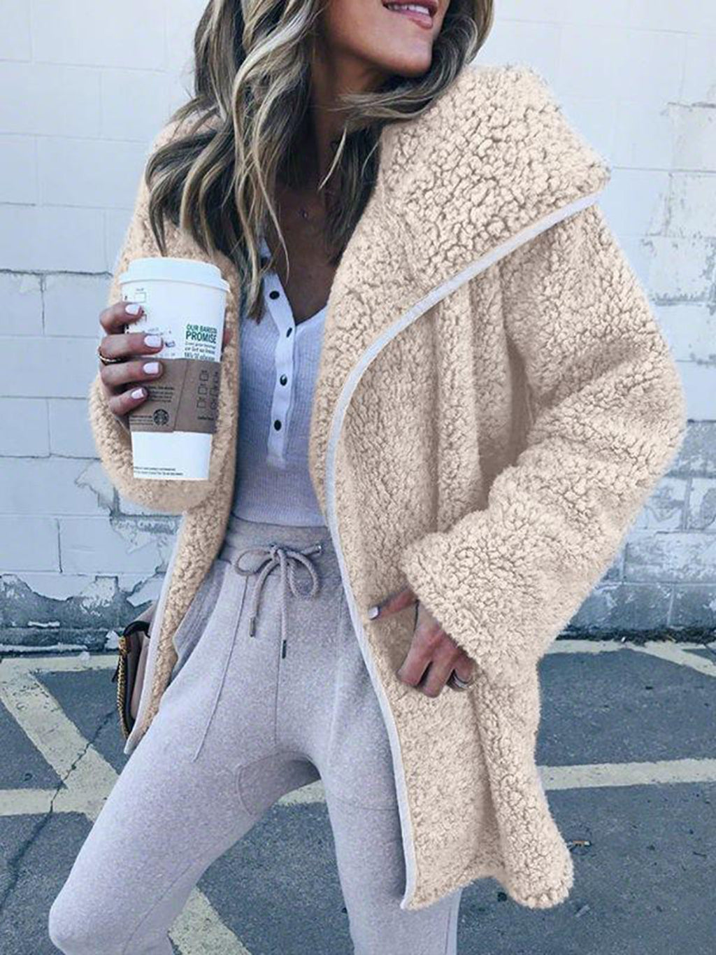 Women Hooded Sherpa Coat Shawl Collar Solid Teddy Bear Coats
