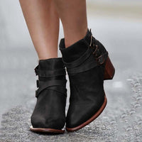 Women Chunky Heel Back Zipper Casual Ankle Boots