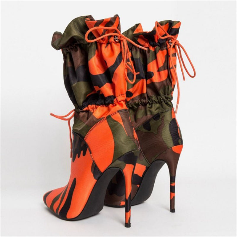 Stylish Pointed-Toe High Heel Camouflage Side Zipper Front Tie Up Boots