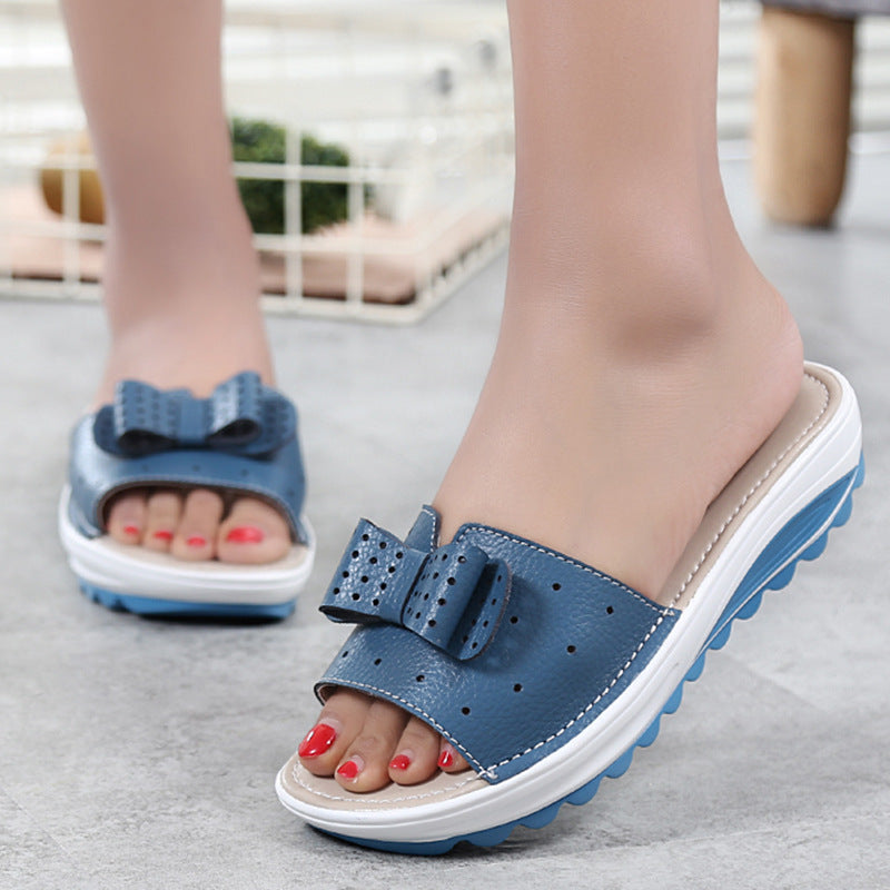 Summer Breathable Genuine Leather Platform Slippers
