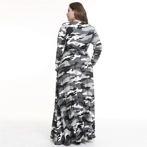 Women's Plus Size Printed Camouflage Long Sleeve Maxi Dress