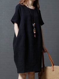 Solid Color Cocoon Casual Linen Dress For Women