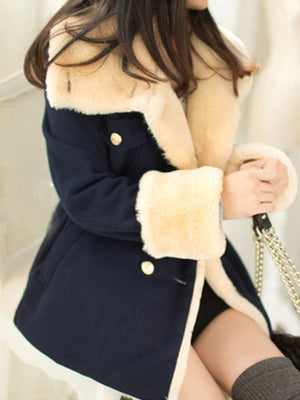 Buttoned Long Sleeve Casual Faux Fur Coat