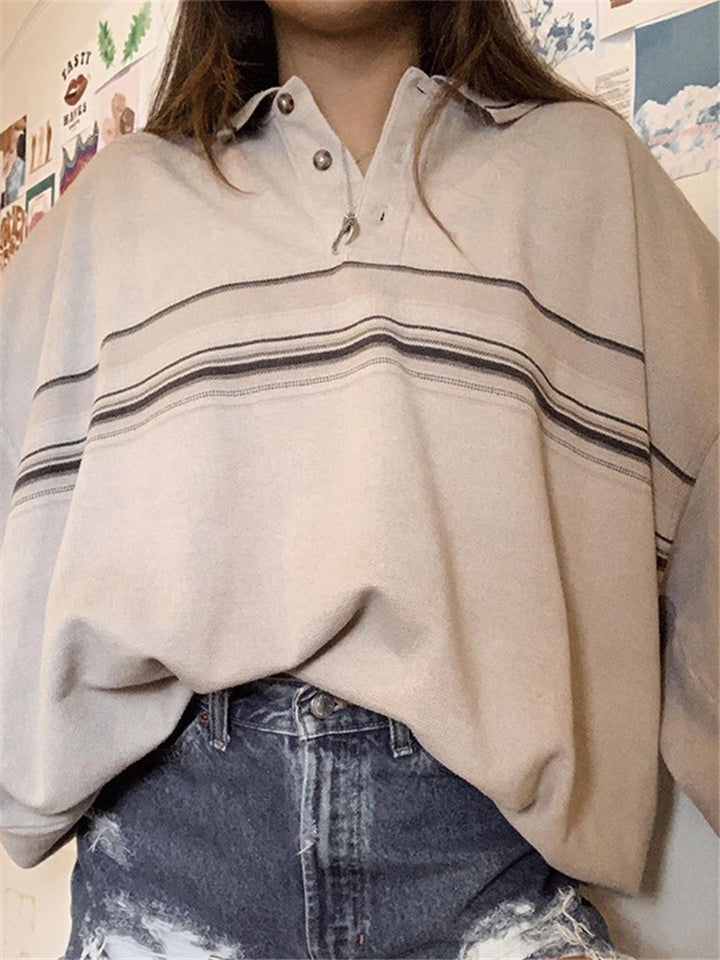 Comfy Fashionable Buttons Turn-down Collar Long Sleeve Stripe Tops