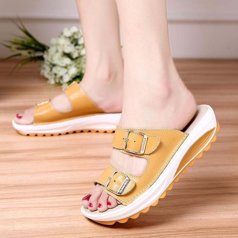 Women's Genuine Leather Peep Toe Soft Platform Beach Slippers