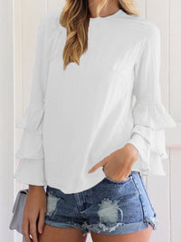 Crew Neck Solid Color Long Sleeve Blouse
