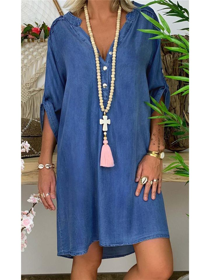 Sexy V-neck Fashion Denim Dress