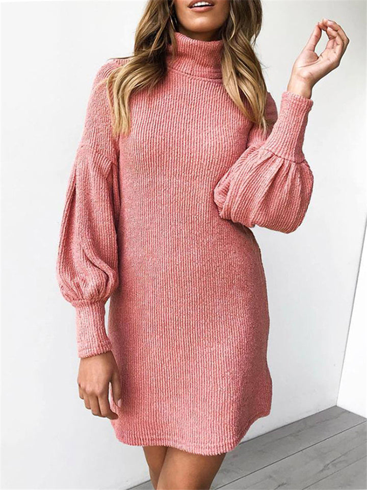 Fashion Threaded Round Neck Long Sleeve Hip Dress