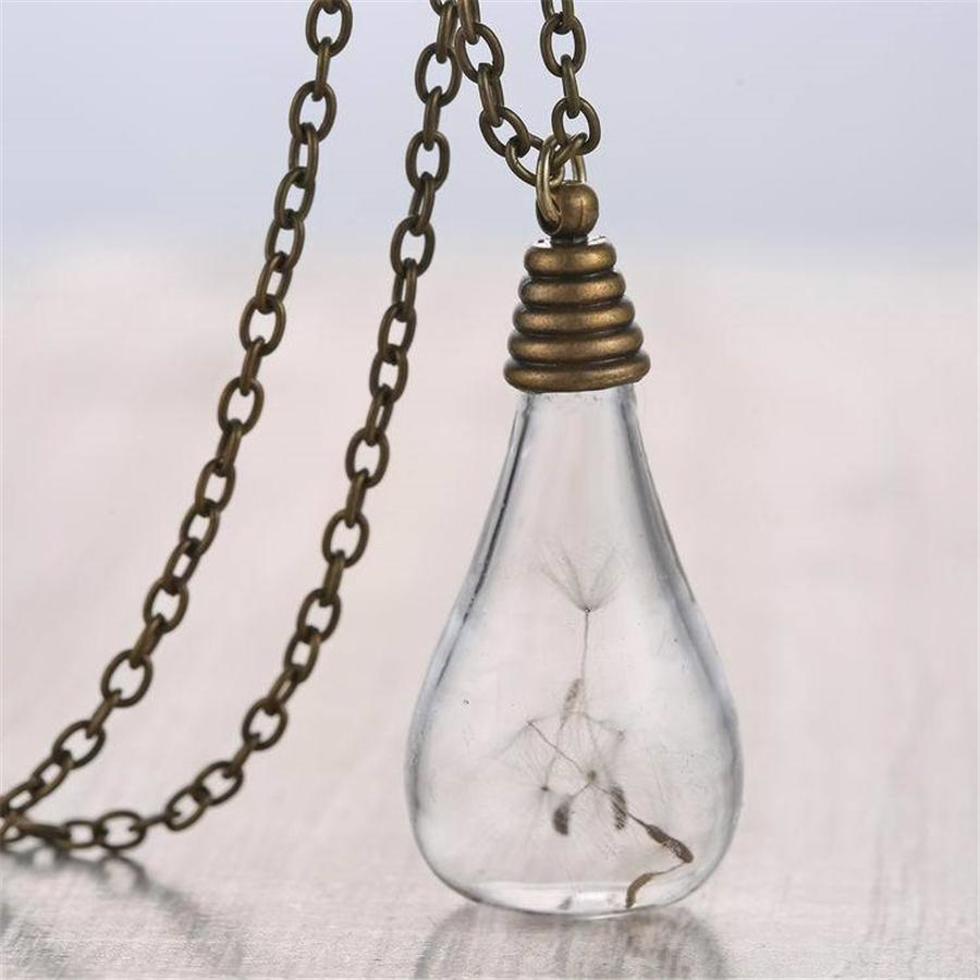 Bronze Dandelion Wishing Ball Vintage Pendant Necklaces for Women