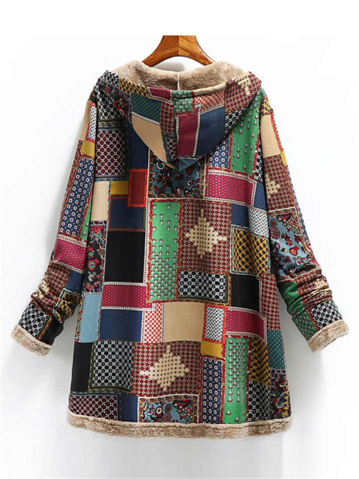Ethnic Style Patchwork Fleece Pocket Hooded Coat