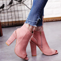 Women's Big Size Peep Toe Chunky Heel Pumps