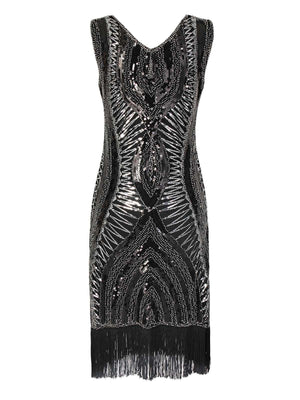 Silver 1920s Fringe Flapper Dress