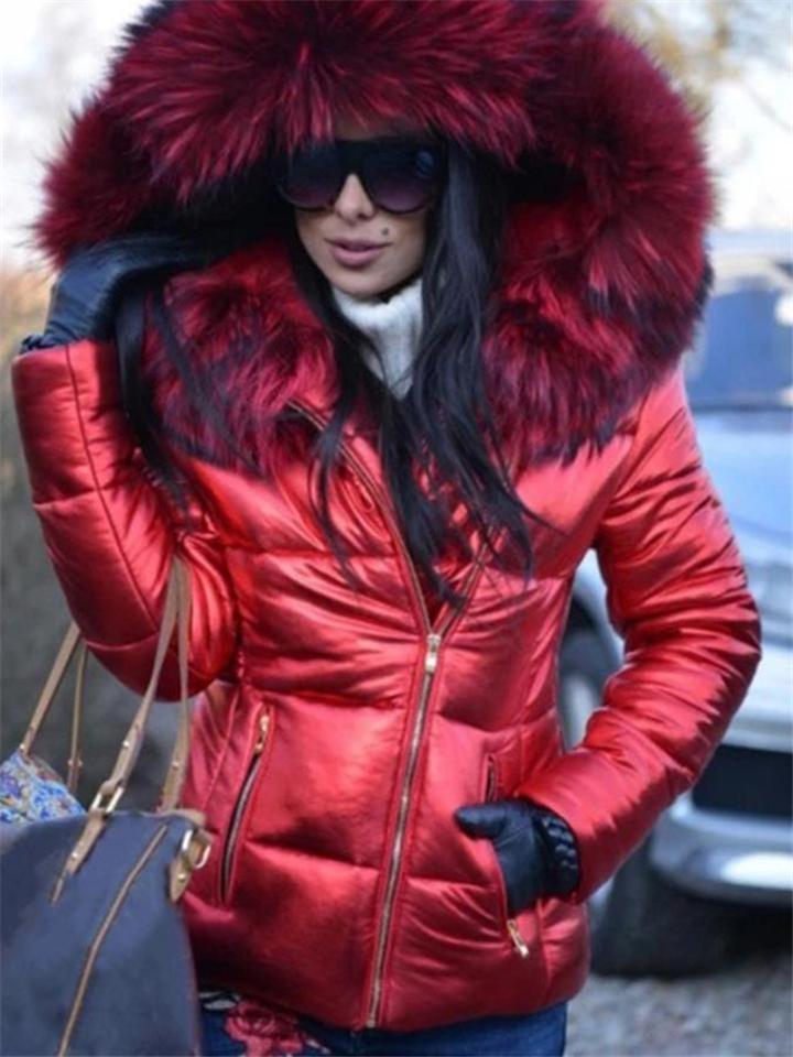 Women Fashion Fur Collar Black Puffer Coat With Hood
