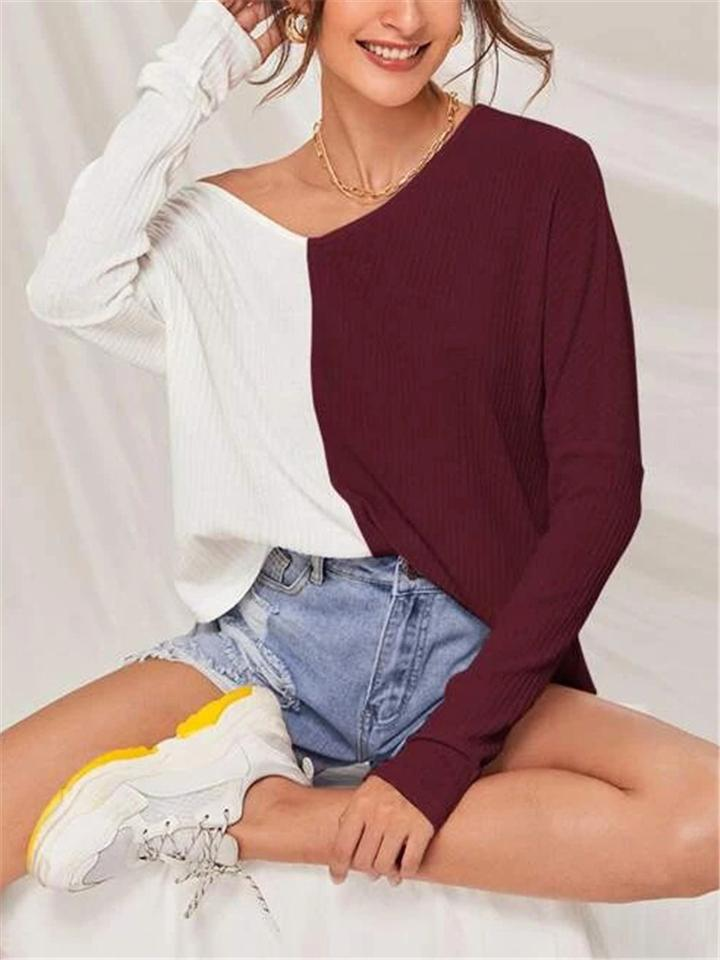 Sweetheart V Neck Contrast Color Patchwork Long Sleeve T-shirt