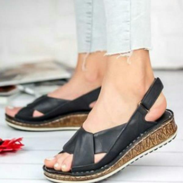 Velcro Buckle Fish Mouth Casual Women's Sandals