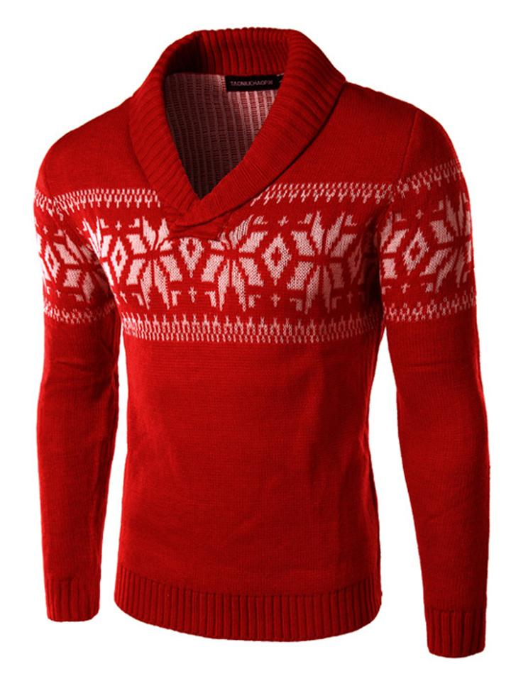 Mens Winter Christmas Snowflake Shawl Collar Sweater