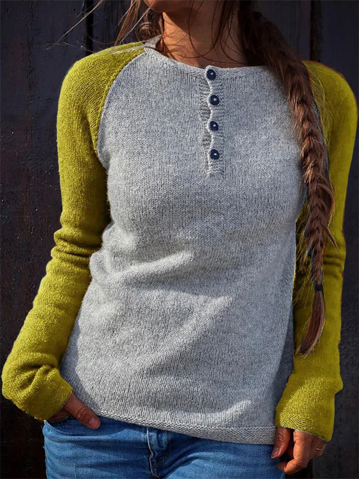 Casual Fit Contrasting Front Button Up Knitted Pullover Sweater