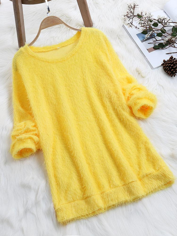 Sweet Comfy Loose Solid Color O-neck Casual Sweatshirts