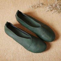 Large Size Pure Color Slip On Vintage Casual Flat Loafers