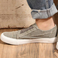 Plus Size Comfy Elastic Slip-on Flat Heel Canvas Shoes