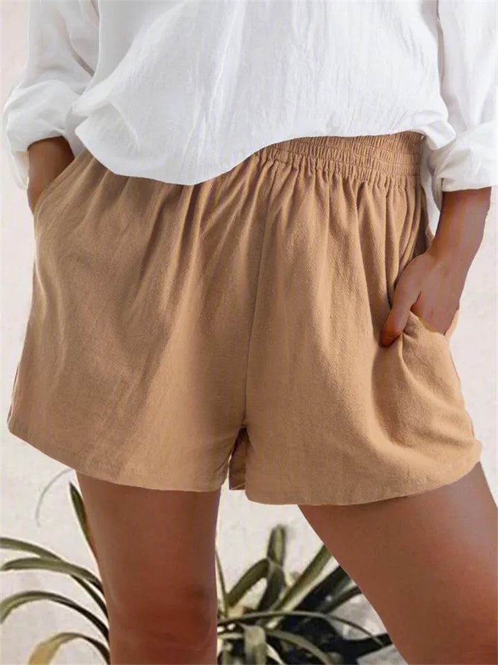 Women Comfy Summer Casual Elastic Waist Pants Shorts With Pocket
