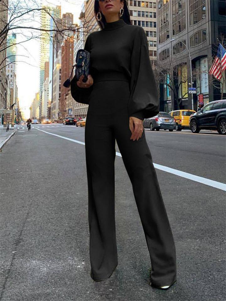 Casual High Neck Backless Long Sleeve Jumpsuit