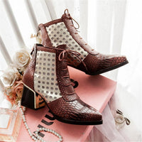 Fashion Pointed Toe Snake Print High Heel Ankle Boots For Women