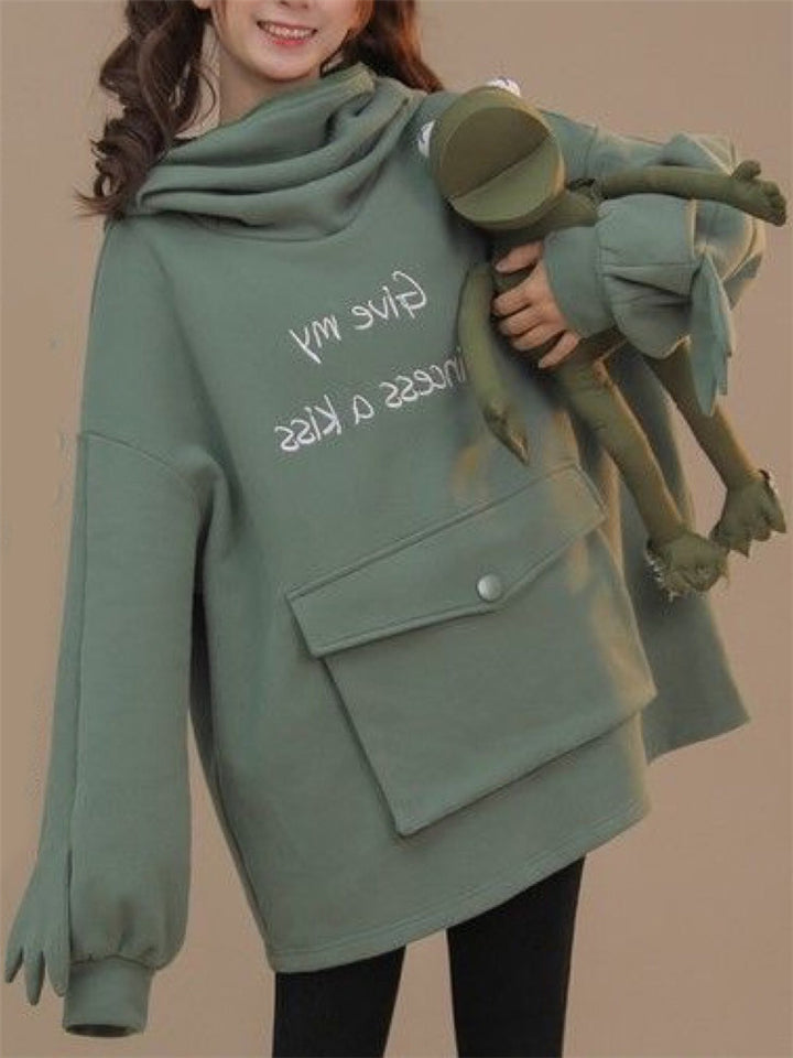 Cute Frog Design Zipper Pullover