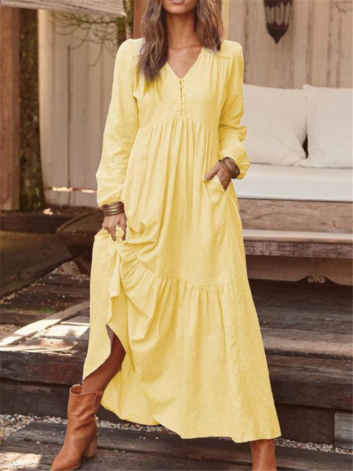 Retro Cotton Linen Long Sleeve Empire Waist Maxi Dress