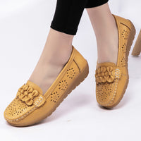Women's Comfy Breathable Hollow Out Flat Loafers Leather Shoes