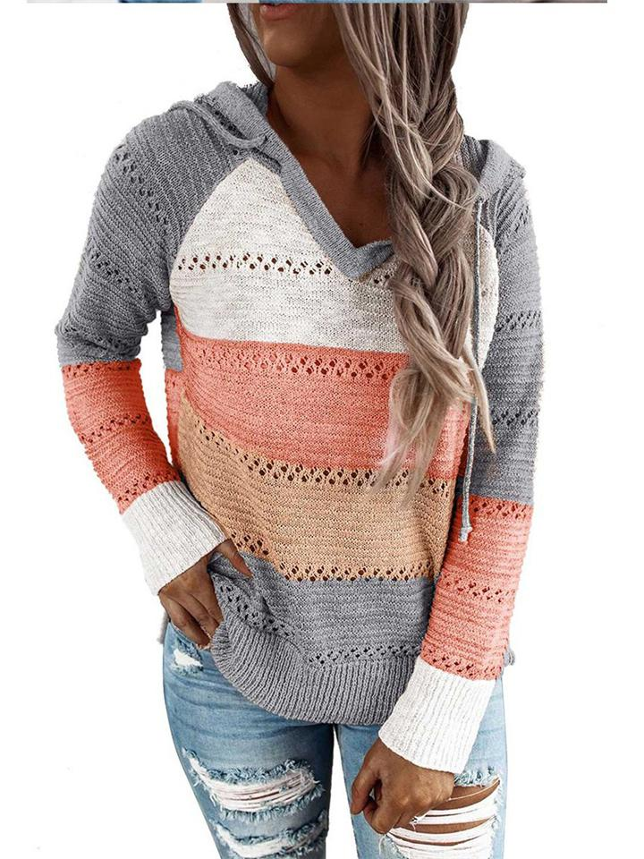 Color Block Hooded Sweater With Ajustable Drawstring