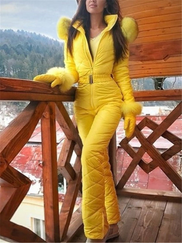 Stretchable High Standing Collar Waterproof Zipper Hooded Ski Jumpsuit