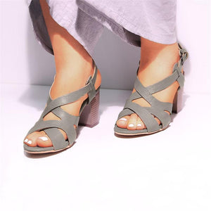 Women's Buckle Chunky Heel  Large Size Sandals