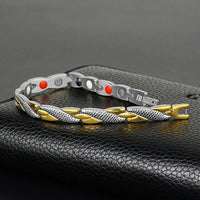 Fashion Chain Silver Gold Bracelet Magnetic Therapy Stainless Steel Single Row Bracelet for Men