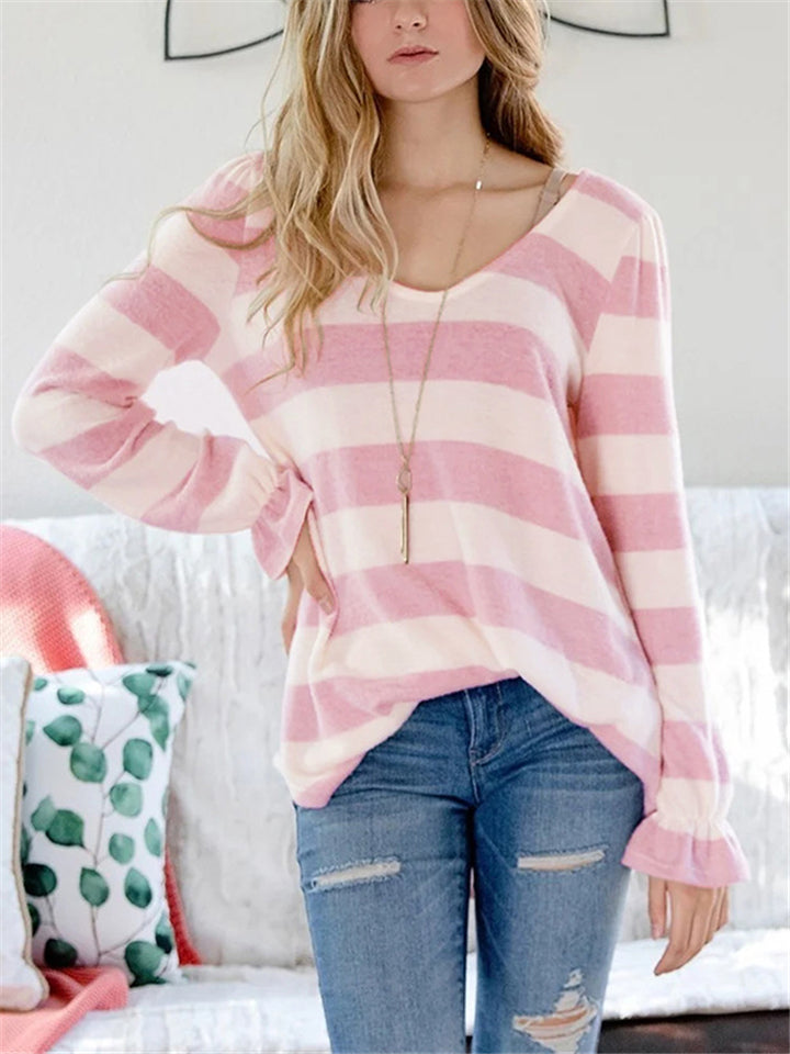 Loose Fit Scoop Neck Striped Elastic Cuff Long Sleeve Pullover Tops