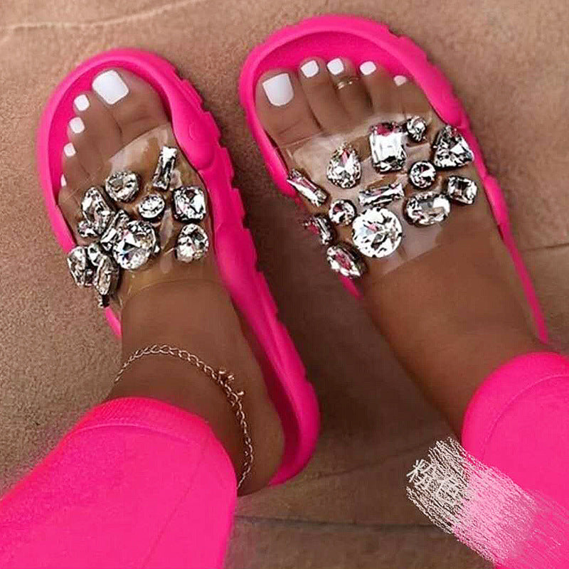Stylish Rhinestone Lightweight Non-Slip Open-Toe Flat Beach Slippers