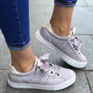 Casual Solid Color Lace-up PU Sneakers