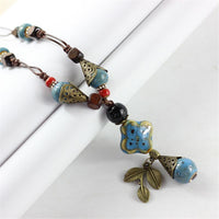 Vintage Ethnic Ceramic Water drop Leaf Pendant Necklace