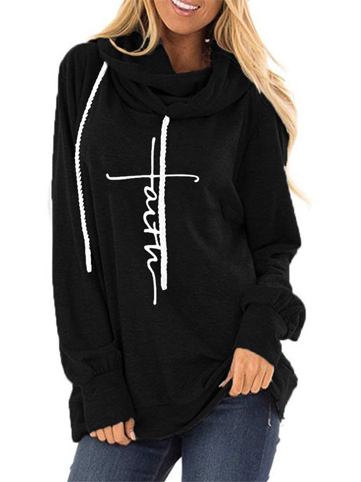 Women's Letter Print Long Sleeve Hooded Sweatshirt